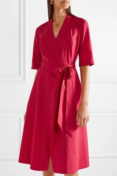Mae Stretch-cotton Poplin Wrap Dress - Claret Saloni 9T4RSVyL