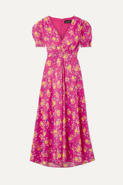 Saloni Lea floral-print silk crepe de chine midi dress