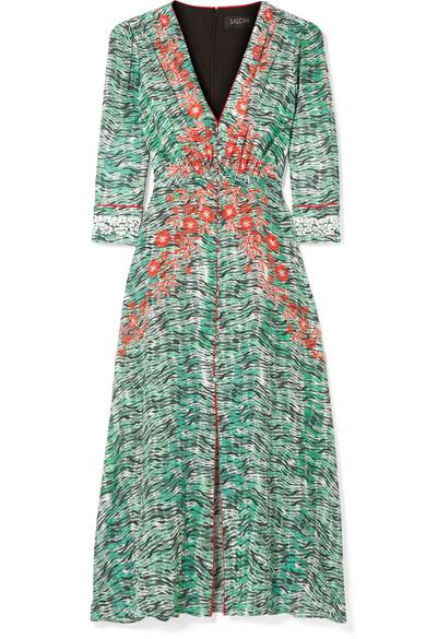 Eve Printed Silk Crepe De Chine Midi Dress by Saloni