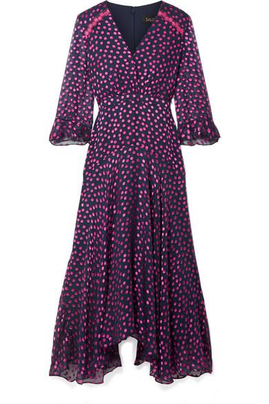 Edith Polka Dot Flocked Silk Blend Chiffon Midi Dress by Saloni