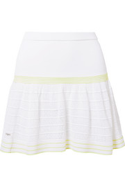 L'Etoile Sport Striped pointelle-knit tennis skirt