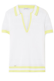 L'Etoile Sport Pointelle-trimmed striped stretch-knit polo top
