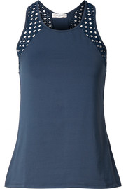 Pointelle-knit and stretch-jersey tank