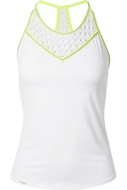 L'Etoile Sport Striped pointelle-knit and stretch-jersey tank