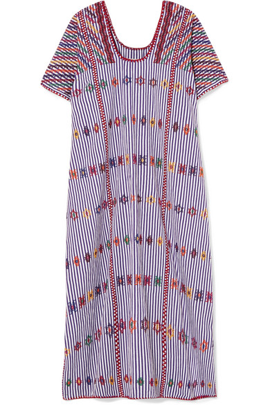 PIPPA HOLT Embroidered Striped Cotton Kaftan in Purple