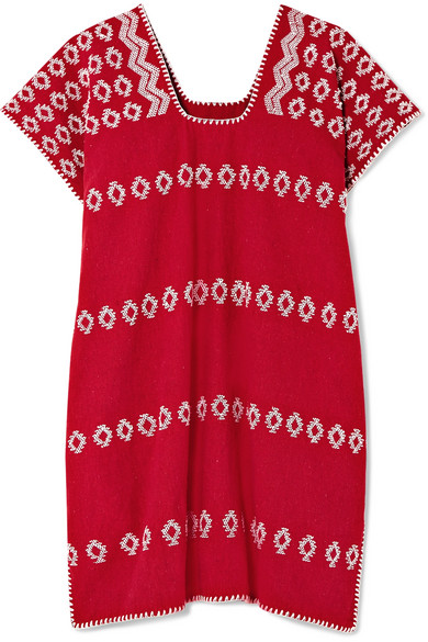 PIPPA HOLT Embroidered Cotton Kaftan in Red