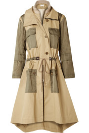 Gabardine and wool-blend trimmed twill trench coat