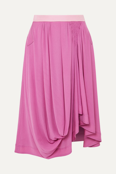 Chloé - Asymmetric Satin-jersey Midi Skirt - Violet