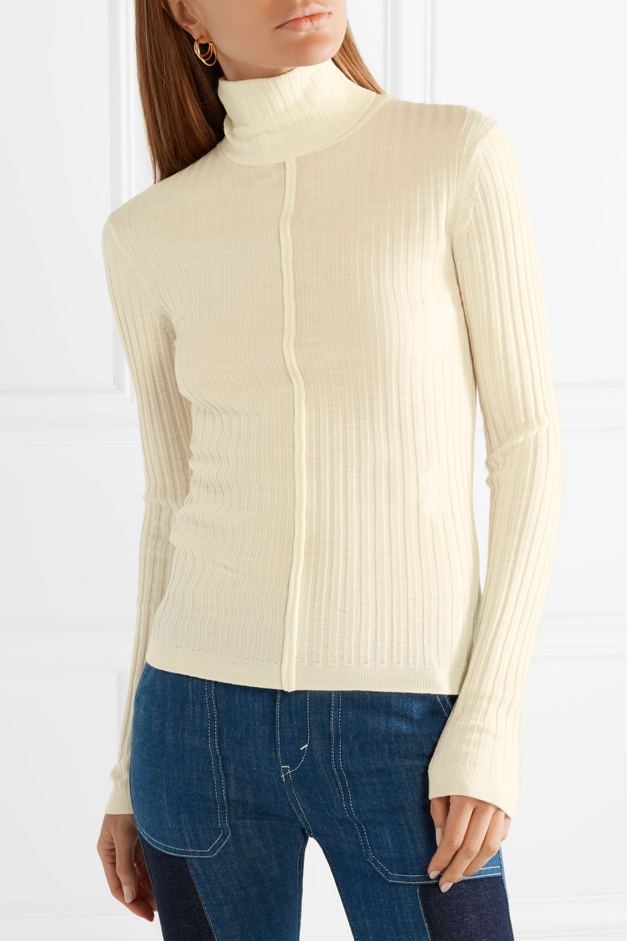 Chloé Ribbed wool turtleneck sweater