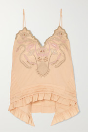 Chloé Embroidered cotton-voile camisole