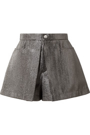Pleated lamé shorts