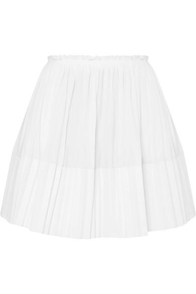 Pleated Cotton-Poplin Mini Skirt, White