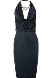 Haney Portia draped embellished satin-jersey dress