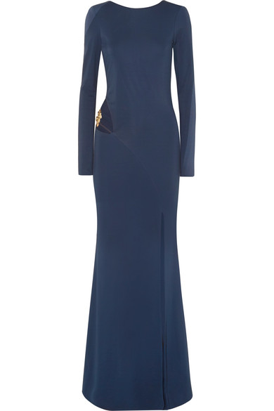 HANEY BIANCA CUTOUT EMBELLISHED STRETCH-JERSEY GOWN