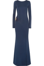 Bianca cutout embellished stretch-jersey gown