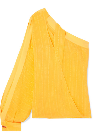 Christina One-Shoulder Cutout Silk-Jacquard Top in Yellow