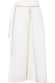 Zeus+Dione Petala fringed plissé cotton and silk-blend skirt