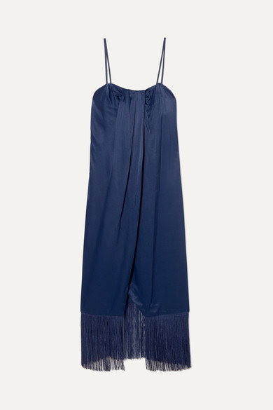 Brighton Fringed Draped Satin Midi Dress, Blue