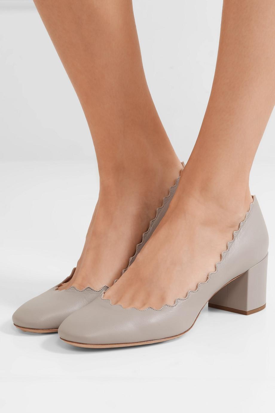Chloé Lauren 扇贝边皮革中跟鞋