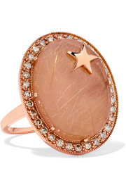14-karat rose gold, quartz and diamond ring