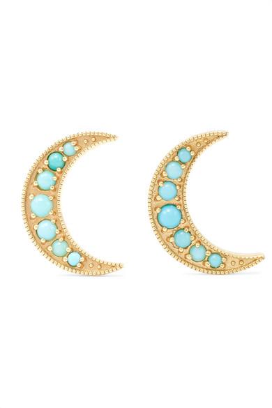 ANDREA FOHRMAN CRESCENT MOON 18-KARAT GOLD TURQUOISE EARRINGS