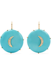 Andrea Fohrman Crescent Moon 14-karat gold, turquoise diamond and earrings
