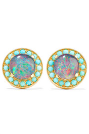 Andrea Fohrman Kat 18-karat gold, opal and turquoise earrings