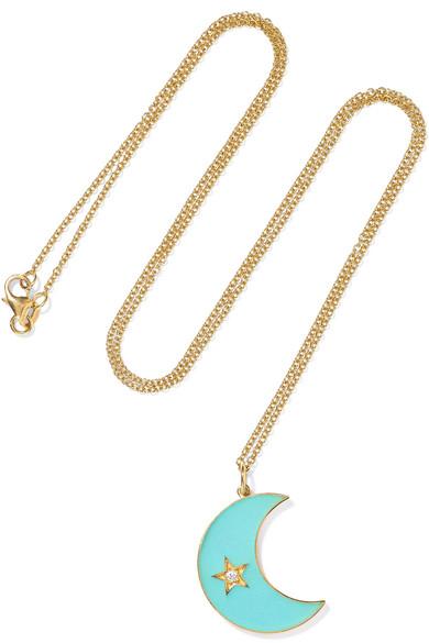 ANDREA FOHRMAN CRESCENT MOON 18-KARAT GOLD, ENAMEL AND DIAMOND NECKLACE