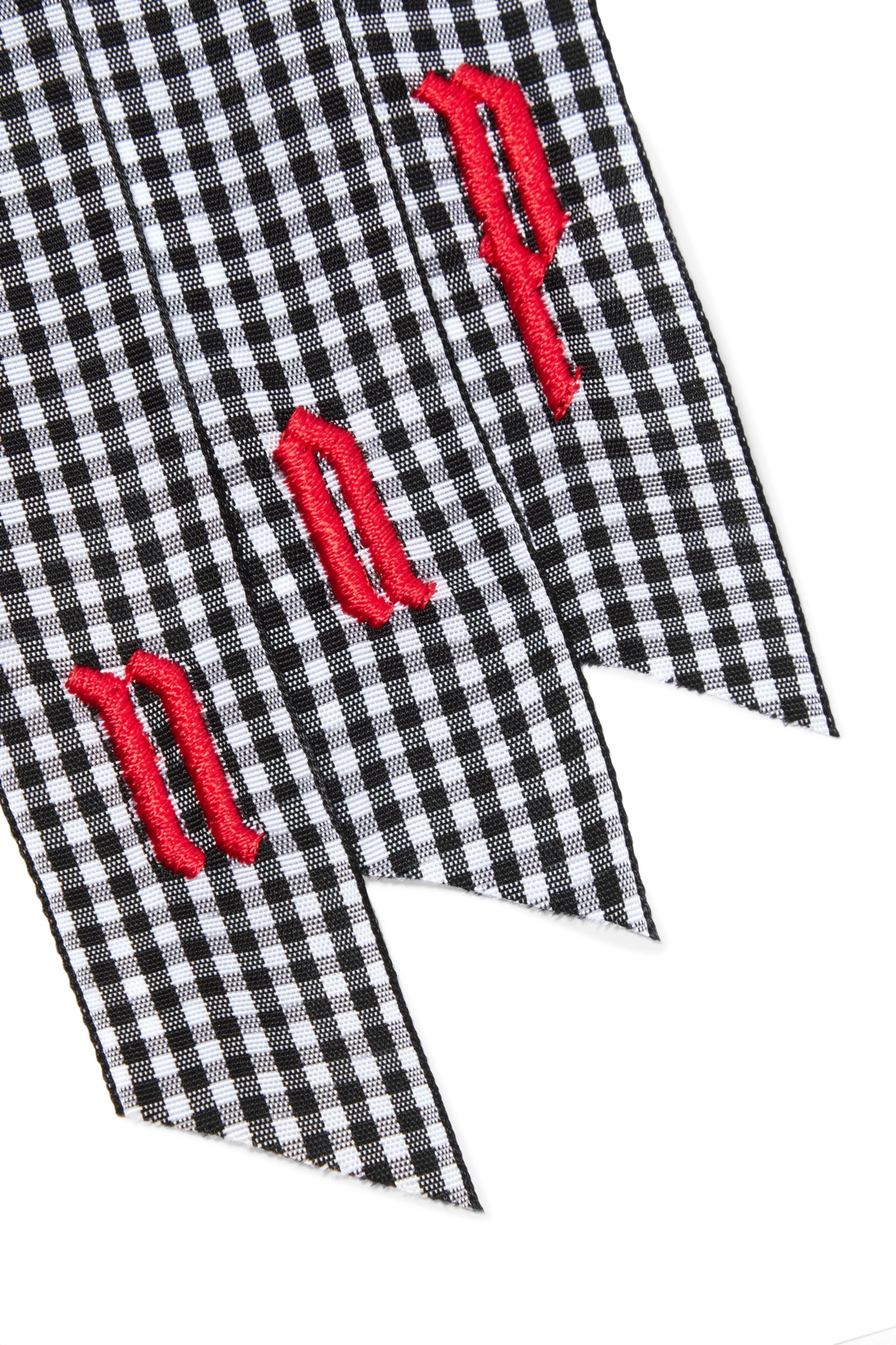LELET NY Embroidered gingham canvas hair tie