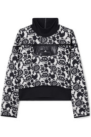 Stretch jersey-trimmed floral-jacquard sweatshirt