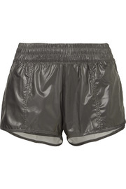 Run 2-in-1 mesh-trimmed glossed-shell shorts