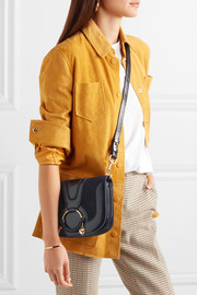 Hana small suede and patent-leather shoulder bag