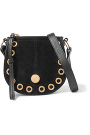Kriss mini eyelet-embellished textured-leather and suede shoulder bag