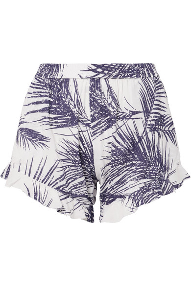PARADISED Kaya Ruffled Printed Voile Shorts in Grape