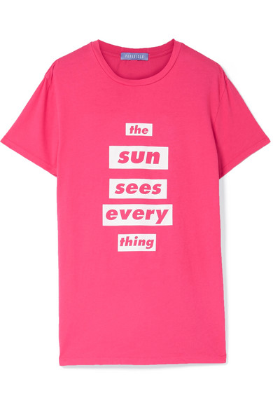 PARADISED Printed Cotton-Jersey T Shirt in Bright Pink
