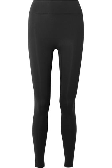 ALL ACCESS Debut Moto Mesh-Paneled Stretch Leggings in Black