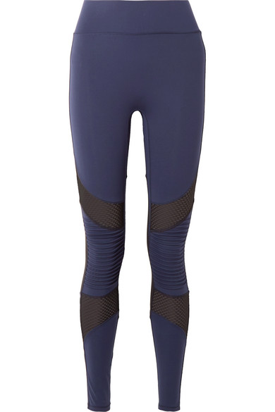 ALL ACCESS Debut Moto Mesh-Paneled Stretch Leggings in Navy
