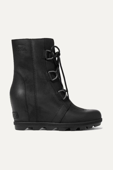 Women'S Joan Of Arctic Ii Waterproof Leather Hidden Wedge Boots in Black