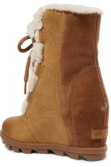 cd5a2a537071 Sorel. Joan of Arctic Wedge II shearling-trimmed waterproof leather and suede  ankle boots. £180. More colors available. Zoom In