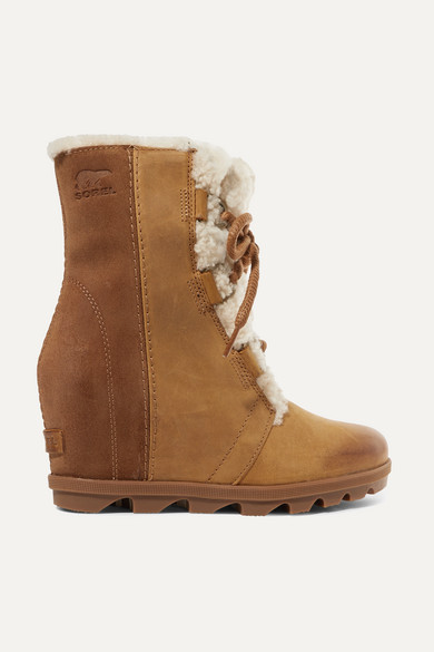 80604f84c22 Sorel. Joan of Arctic Wedge II shearling-trimmed waterproof leather and  suede ankle boots