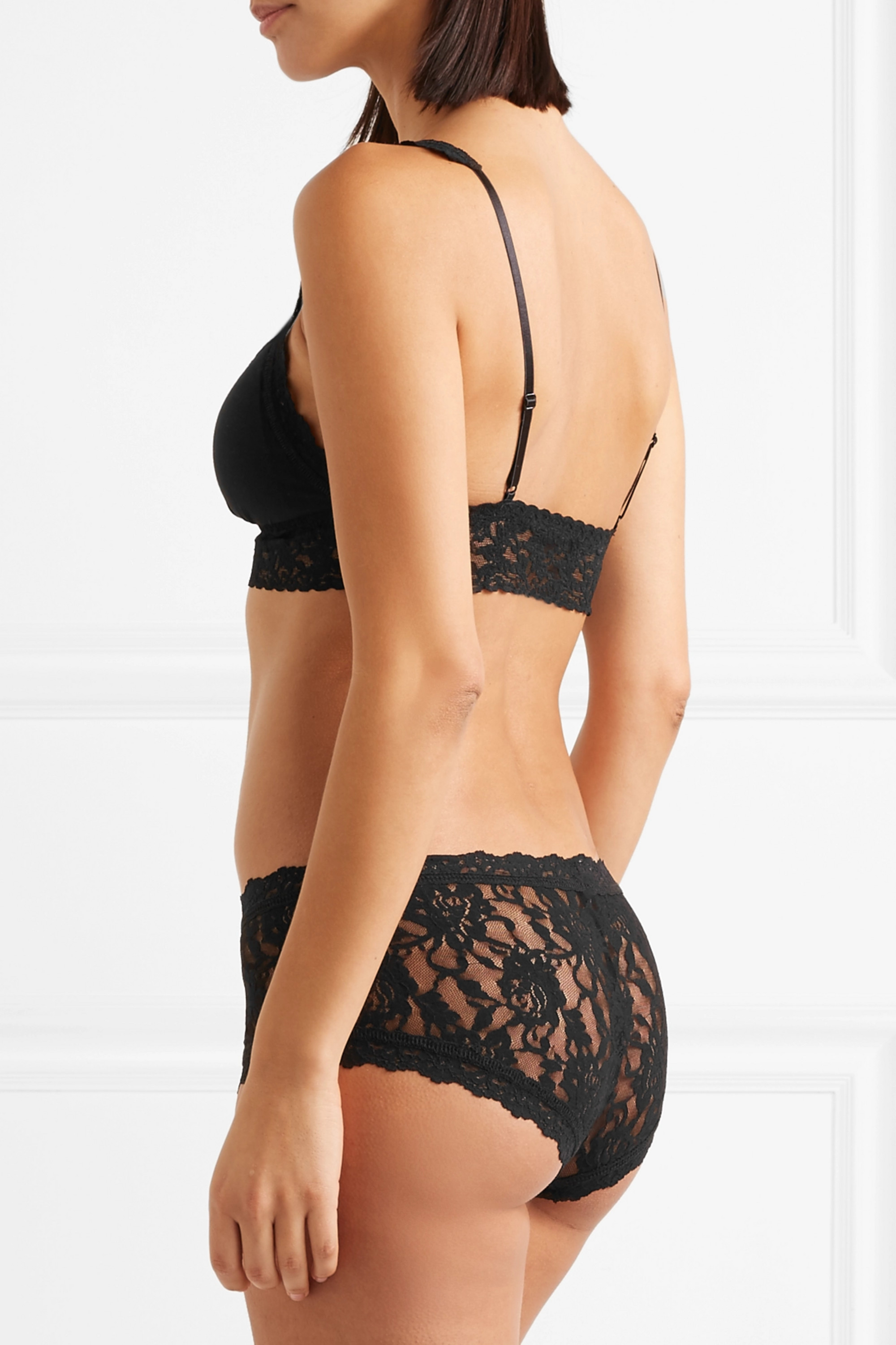 Hanky Panky Signature lace-trimmed stretch organic cotton padded soft-cup bra