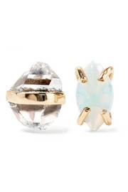 Melissa Joy Manning 14-karat gold, Herkimer diamond and opal earrings