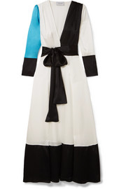 Color-block silk-charmeuse robe