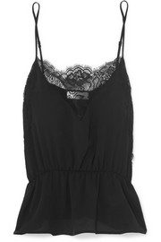 Anine Bing Lace-trimmed silk camisole