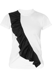 EXCLUSIVE asymmetric ruffled two-tone cotton-jersey T-shirt