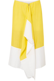 Marques' Almeida Asymmetric two-tone crepe de chine midi skirt