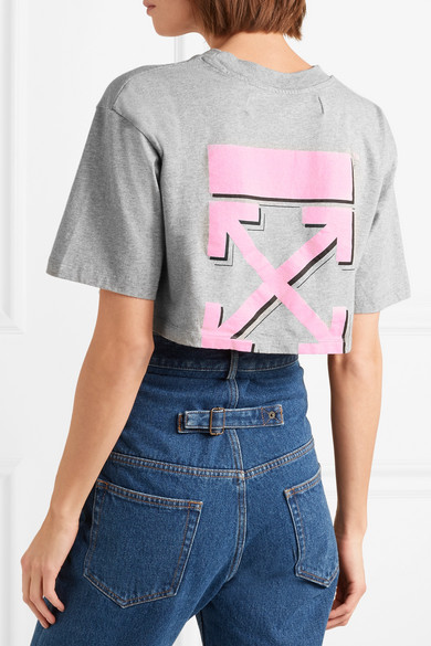 Off-White International Women's Day verkürztes T-Shirt aus Baumwoll-Jersey mit Print