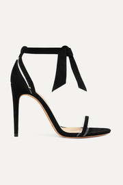 Clarita bow-embellished suede and PVC sandals