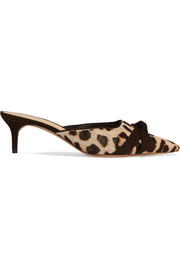 Alexandre Birman Daisy bow-embellished leopard-print calf hair mules