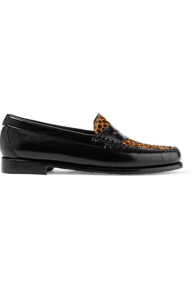 + Weejuns The Whitney Glossed-Leather And Leopard-Print Calf Hair Loafers in Leopard Print